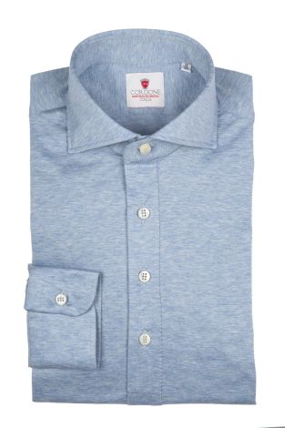 Cordone1956 - Tailored Shirt Mod. Polo Jersey Light Azure - Shirt by Hand - Made In Italy