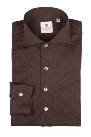 Cordone1956 - Tailored Shirt Mod. Polo Jersey Brown - Shirt by Hand - Made In Italy