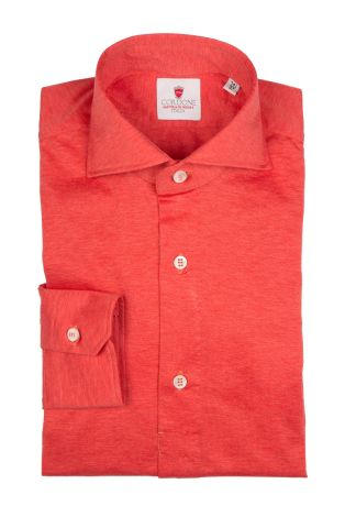 Cordone1956 - Tailored Shirt Mod. Polo Jersey Red - Shirt by Hand - Made In Italy