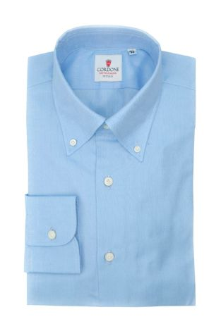Cordone1956  - Classic Shirt Mod. Positano Panama Blue  - Made by: Machine - Type: Casual - Made In Italy