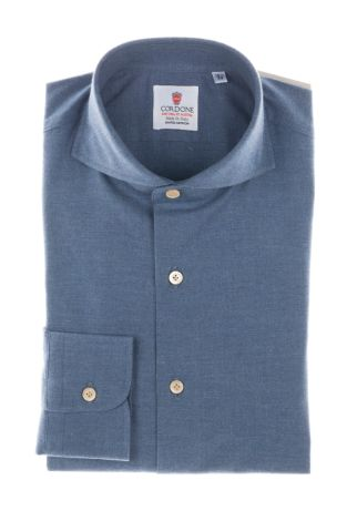Cordone1956  - Classic Shirt  Mod. Sky Blue Flannel Shirt   - Made by: Machine    - Type: casual   - Made In Italy