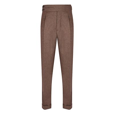 Cordone1956 - Trousers Mod Flannel Light Brown Trousers - Fabric Flannel