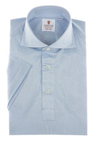 Cordone1956 - Mod. Shirt Polo Light Azure - Short Sleeve - Shirt By-Hand - Made In Italy
