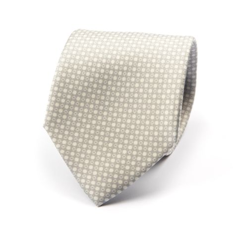 Cordone1956 - Necktie Mod. Ties 3 Fold Lined - Fabric silk - Color Grey/white