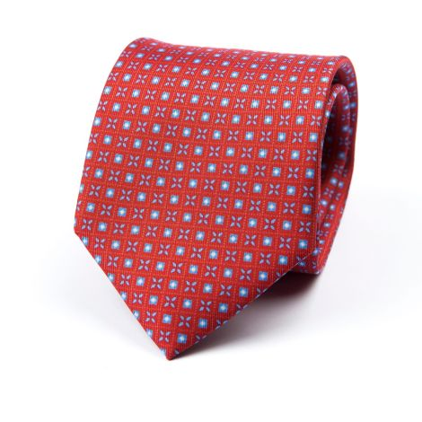 Cordone1956 - Necktie Mod. Ties 3 Fold Lined - Fabric silk - Color Red/Azure