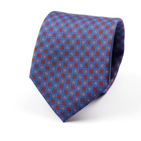 Cordone1956 - Necktie Mod. Ties 3 Fold Lined - Fabric silk - Color Blu/Red/White