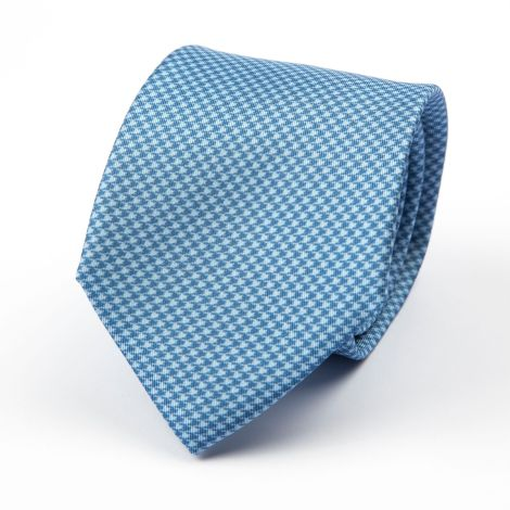Cordone1956 - Necktie Mod. Ties 3 Fold Lined - Fabric silk - Color Azure/White