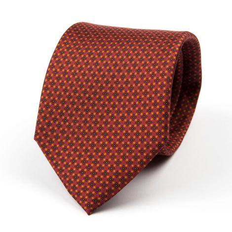 Cordone1956 - Necktie Mod. Ties 3 Fold Lined - Fabric silk - Red/Gold