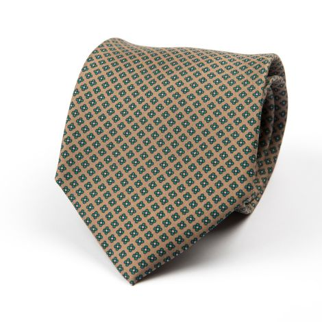 Cordone1956 - Necktie Mod. Ties 3 Fold Lined - Fabric silk - Color Brown/Green