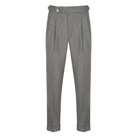 Cordone1956  - Trousers Mod Light Grey Flannel  Trousers - Fabric Flannel