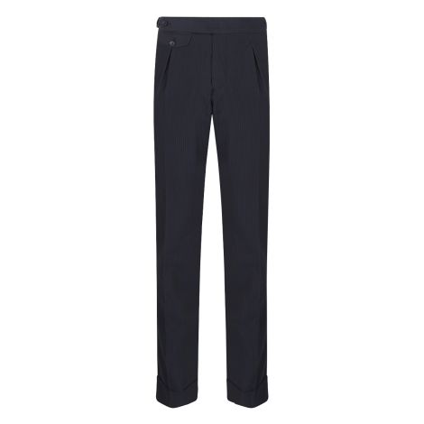 Cordone1956 - Deep Navy Seersucker Trousers - Made by Machine - Made In Italy