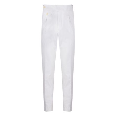 Cordone1956 - Deep White Seersucker Trousers - Made by Machine - Made In Italy
