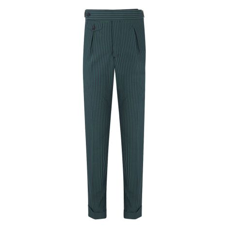 Cordone1956 - Green and Navy Striped Seersucker Trousers - Made by Machine - Made In Italy