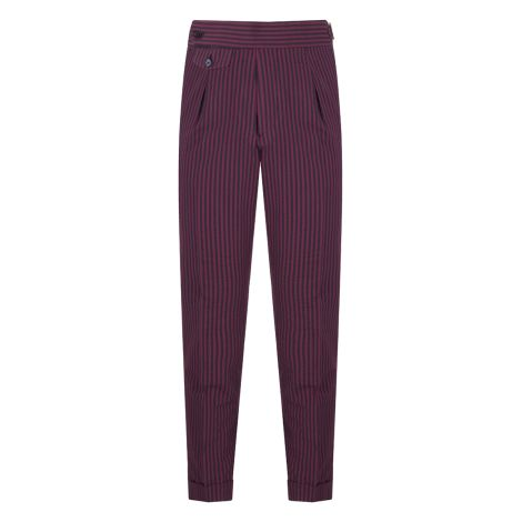 Cordone1956 - Bordeaux and Navy Stripes  Seersucker Trousers     - Made by Machine - Made In Italy