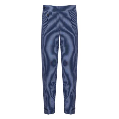 Cordone1956 - Azure  Striped Seersucker Trousers - Made by Machine - Made In Italy