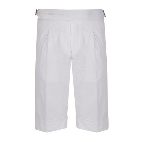 Cordone1956 -  Deep White Seersucker Tailored Shorts   - Made by Machine - Made In Italy