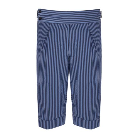 Cordone1956 - Azure Stripes  Seersucker Tailored Shorts    - Made by Machine - Made In Italy