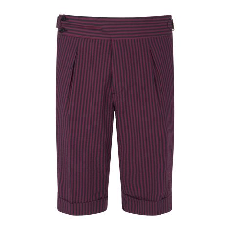 Cordone1956 - Bordeaux and Navy Stripes  Seersucker Tailored Shorts    - Made by Machine - Made In Italy
