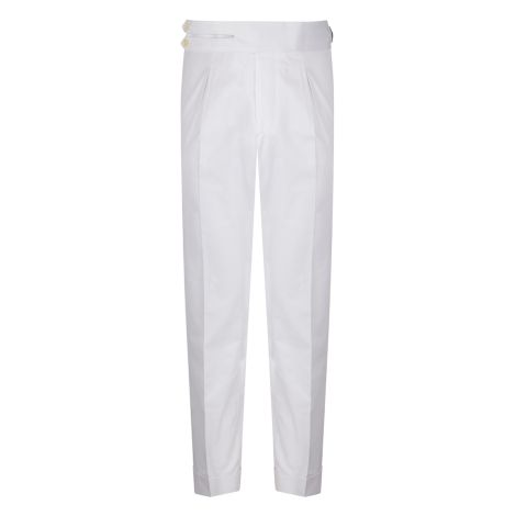 Cordone1956 - White Cotton  Trousers - Made by Machine - Made In Italy