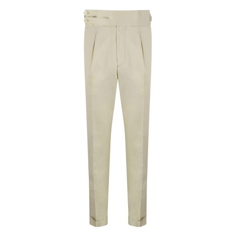 Cordone1956 - Beige Cotton  Trousers - Made by Machine - Made In Italy