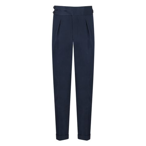 Cordone1956 - Navy Blue Cotton  Trousers - Made by Machine - Made In Italy