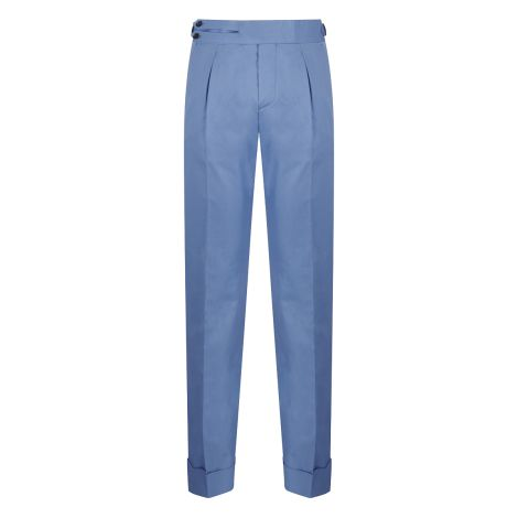 Cordone1956 - Azure Cotton  Trousers - Made by Machine - Made In Italy