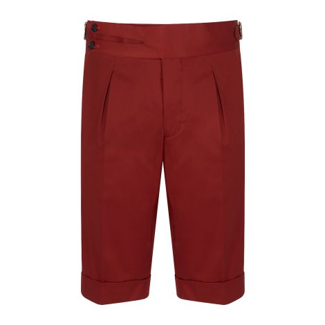 Cordone1956 -  Red Cotton Tailored Shorts  - Made by Machine - Made In Italy
