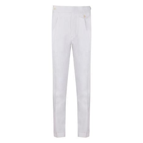 Cordone1956 - White Linen  Trousers - Made by Machine - Made In Italy