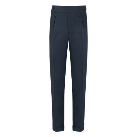 Cordone1956 - Blue Linen  Trousers - Made by Machine - Made In Italy