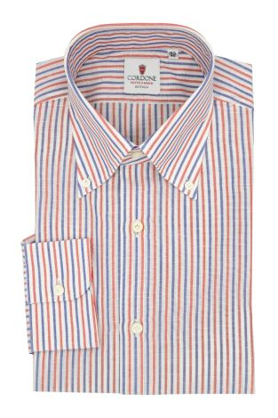 Cordone1956  - Classic Shirt Mod. Zevi Stripes White,  Red and Blue - Made by: Hand - Type: casual  - Made In Italy