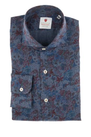 Cordone1956  - Shirt Limited Edition  Mod. Linen Denim Flowers  - Made by: Machine    - Type: casual   - Made In Italy